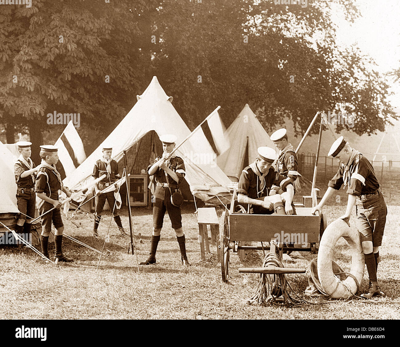 Sea Scouts in Camp early 1900s - Stock Image