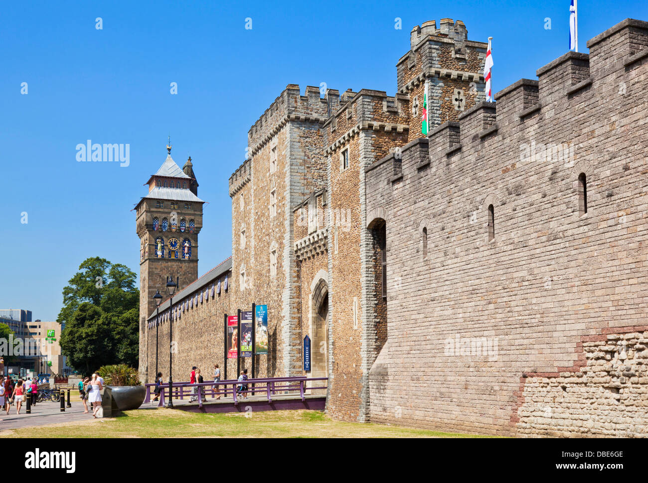 South gate entrance of Cardiff castle Cardiff city centre South Glamorgan South Wales GB UK EU Europe - Stock Image