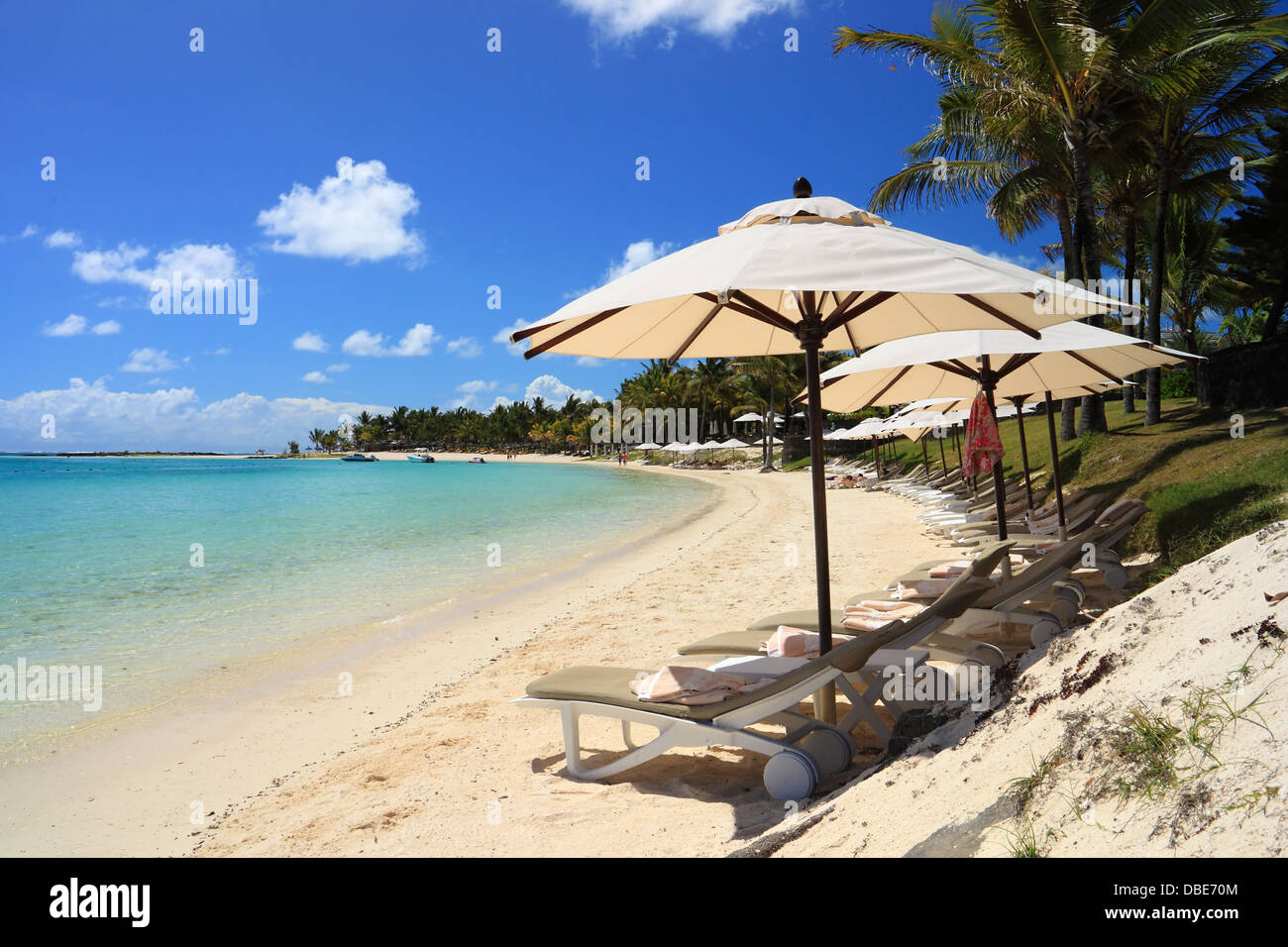 Tropical beach in Mauritius island - Stock Image