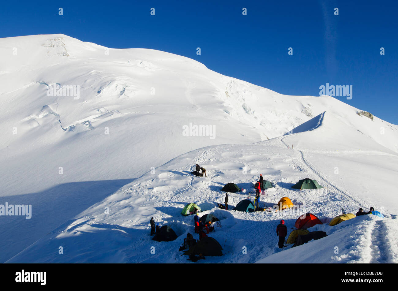 tents on Mt Blanc, French Alps, Haute-Savoie, France, Europe - Stock Image