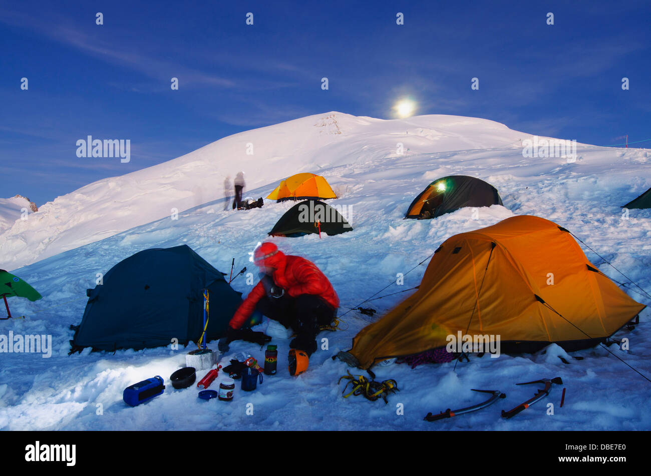 full moon, tents on Mt Blanc, French Alps, Haute-Savoie, France, Europe - Stock Image