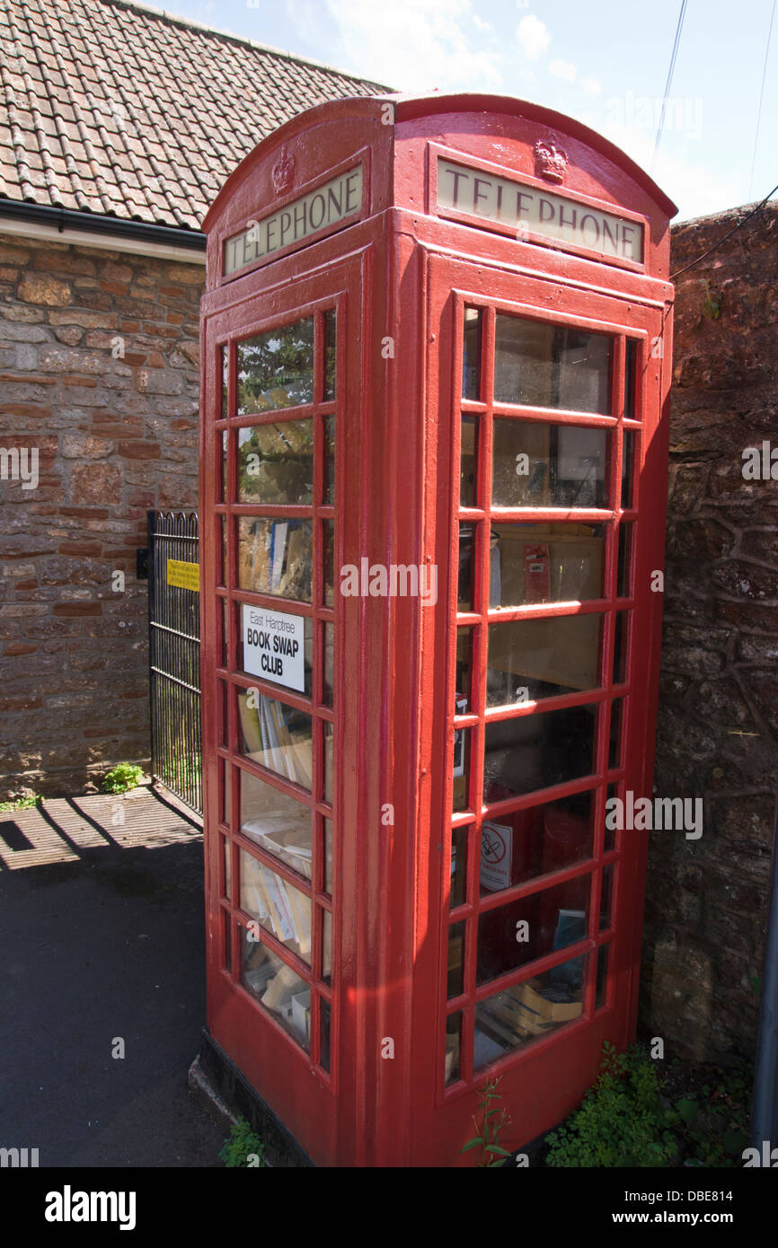 East Harptree a village in Somerset England UK   Telephone Box Library - Stock Image