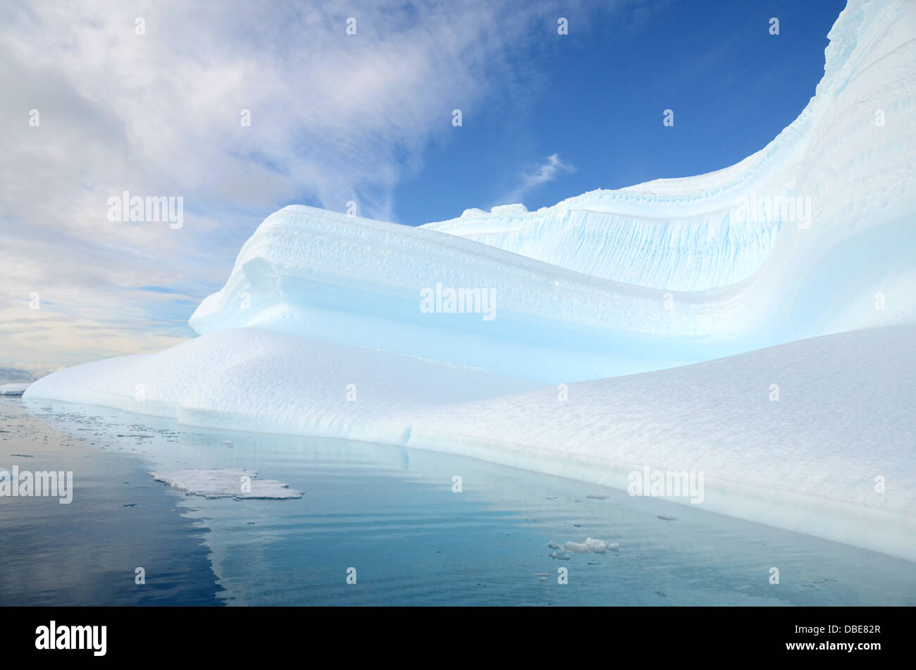 A beautiful, abstract-looking ice berg near Portal Point, Antarctica - Stock Image