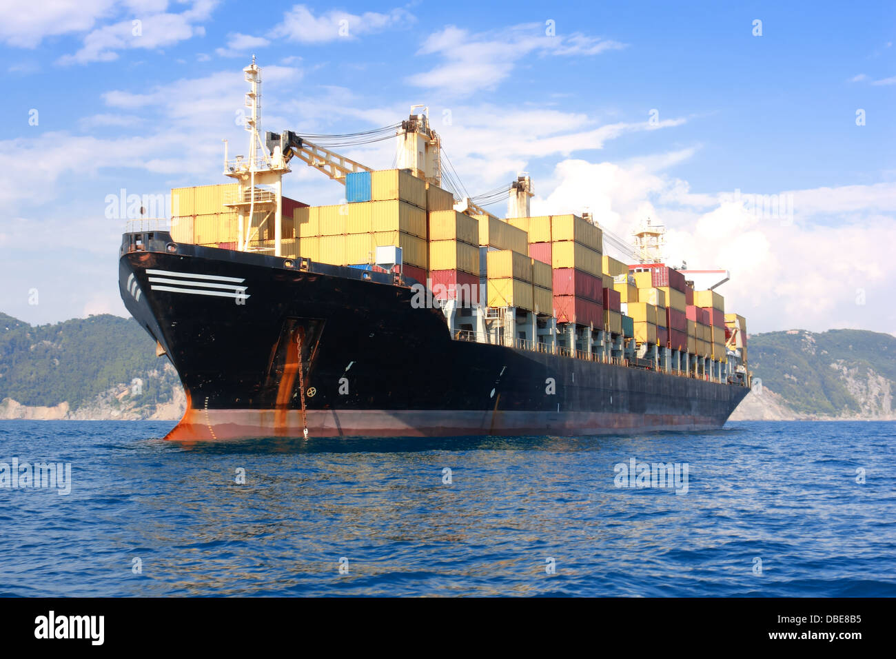 Cargo ship full of containers - Stock Image