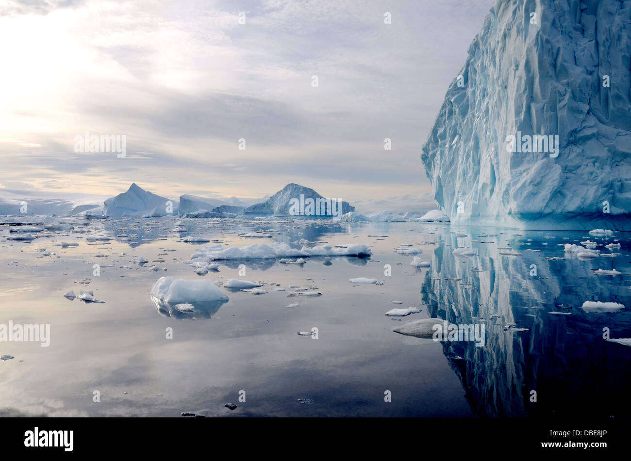 Glaciers and ice bergs float in the Antarctic Sea near Neko Harbor, Antarctica - Stock Image