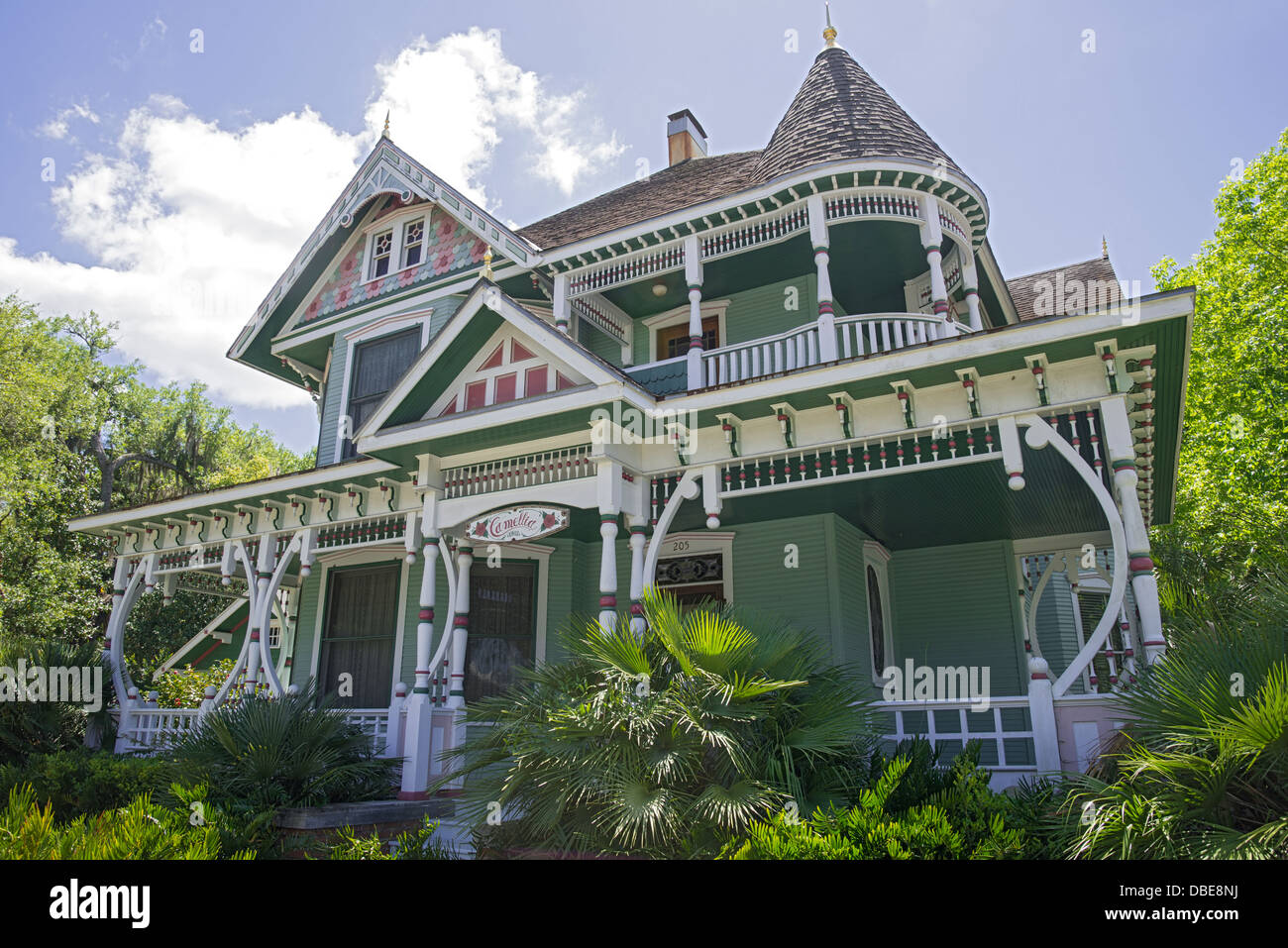 American Queen Anne Revival Victorian home in the historic district of Gainesville, Florida. - Stock Image