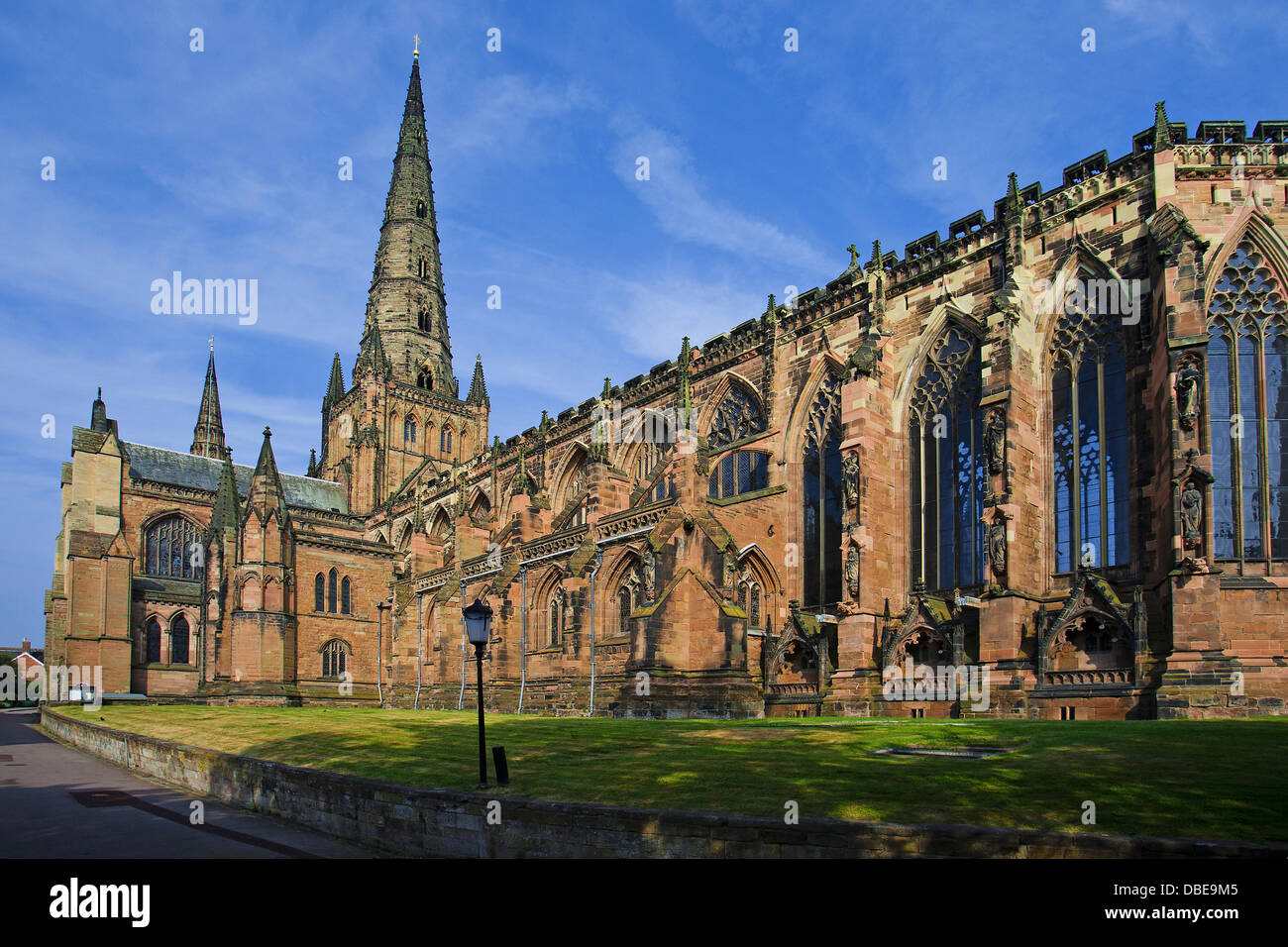 Exterior of Lichfield Cathedral, Lichfileld, Staffordshire, England, UK - Stock Image