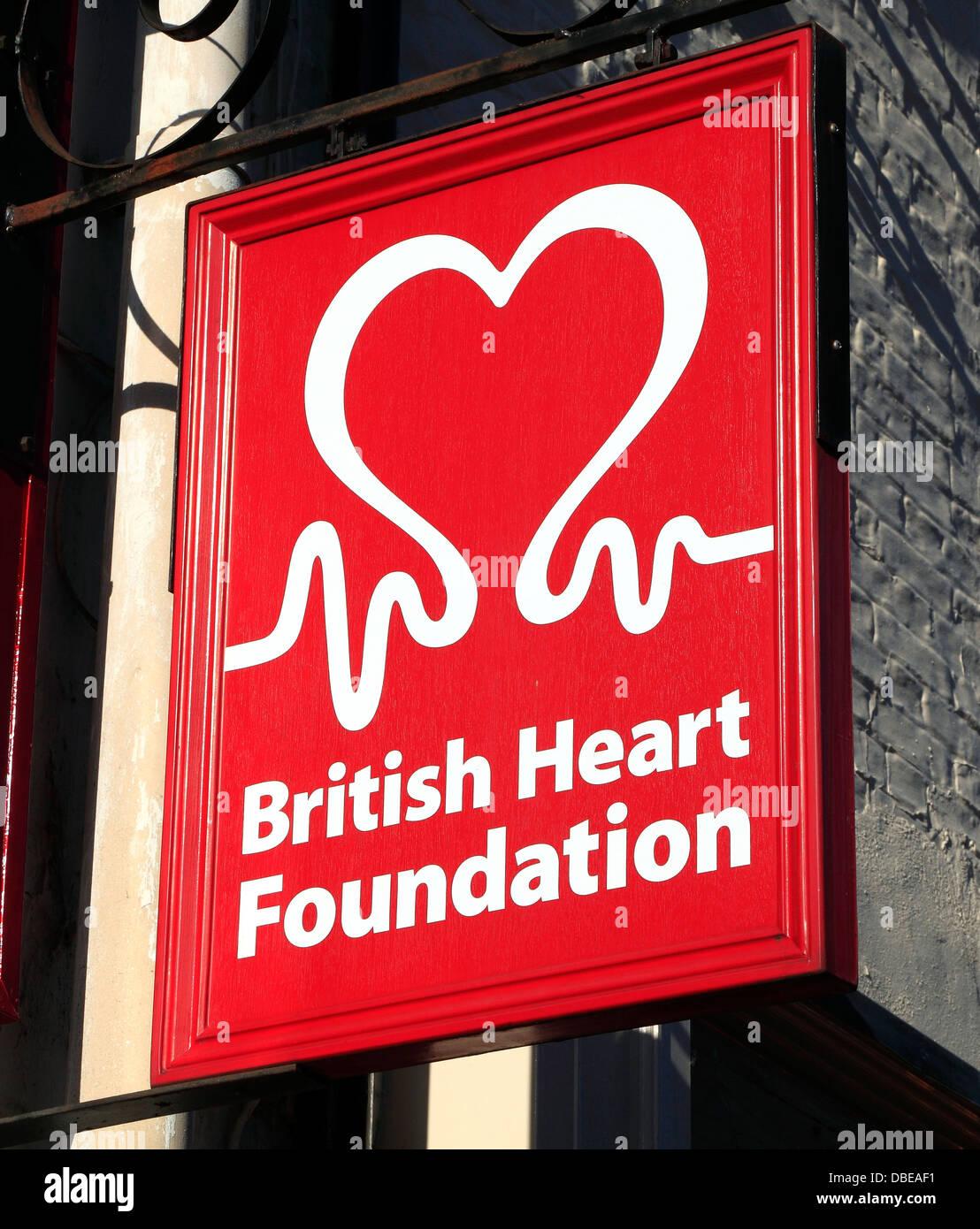 British Heart Foundation, sign, logo, shop signs England UK - Stock Image