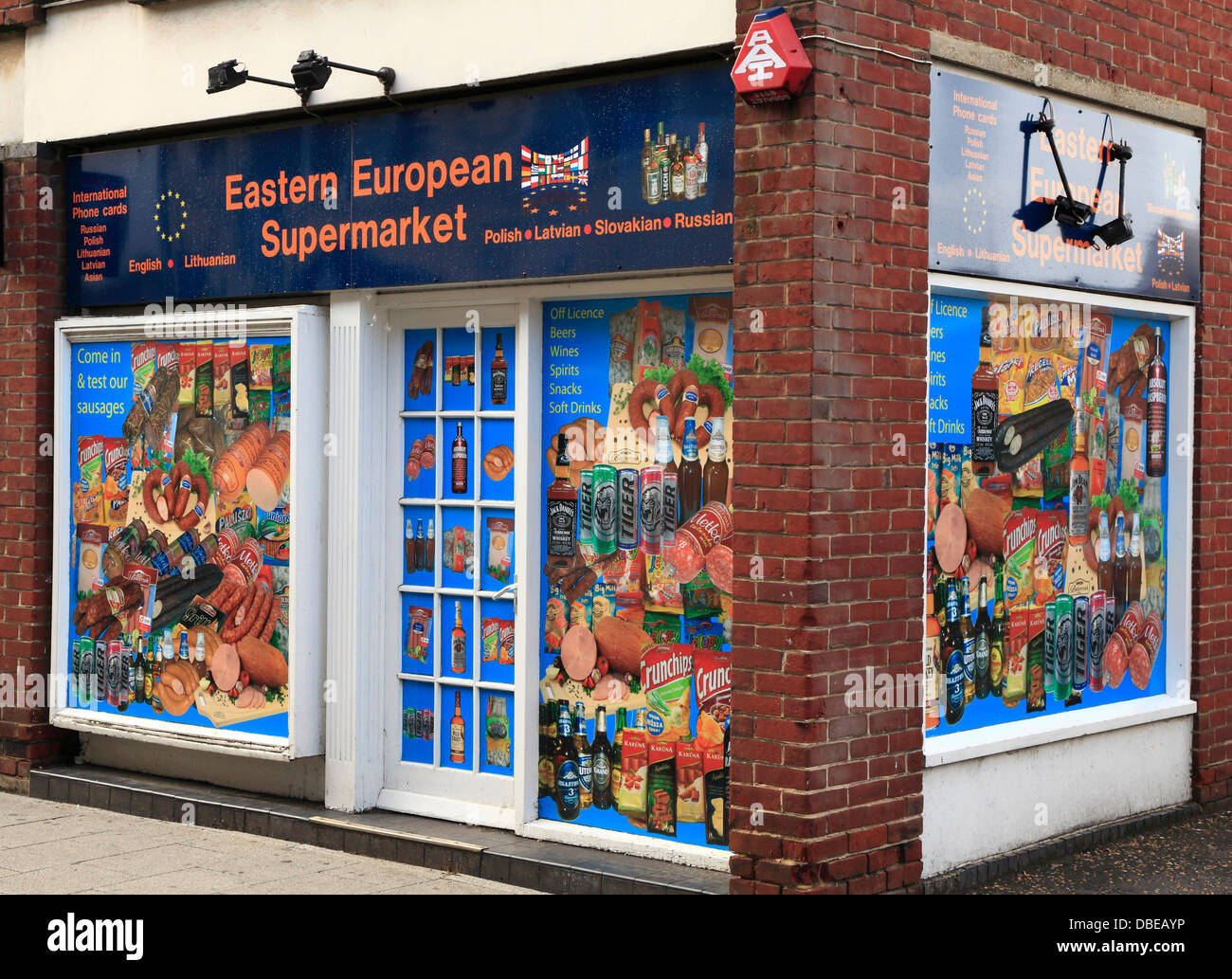 Eastern European Supermarket, Kings Lynn, Norfolk, England UK, to serve East European immigrants immigration, shop - Stock Image