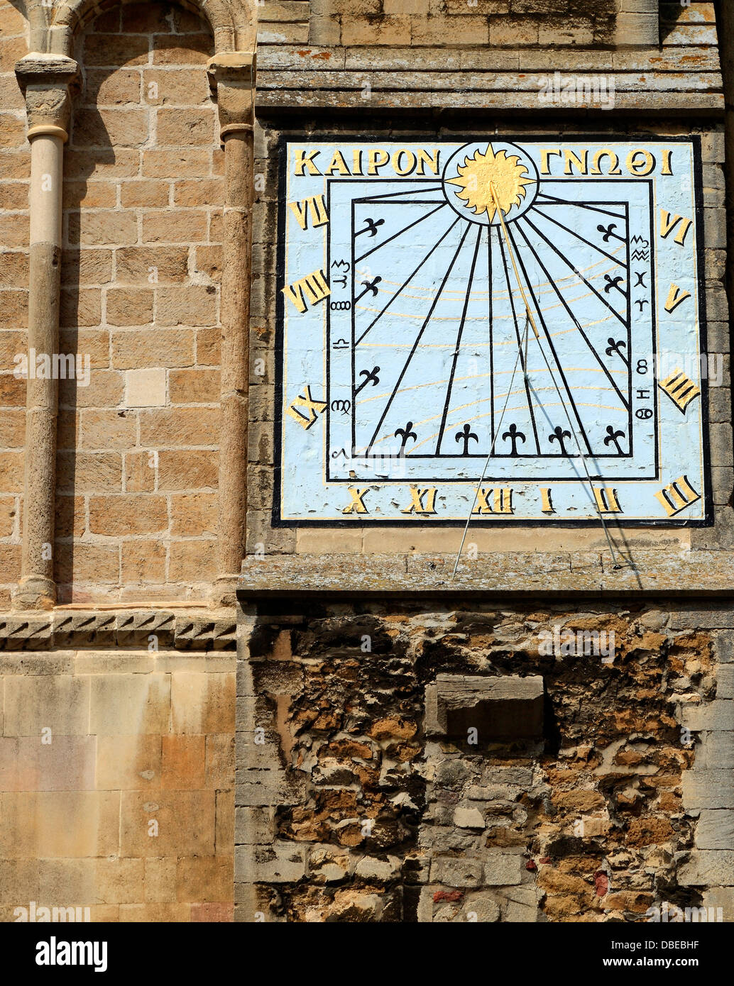 Ely Cathedral, Sundial on South Transept wall, Greek inscription 'Know the Time', Cambridgeshire England - Stock Image