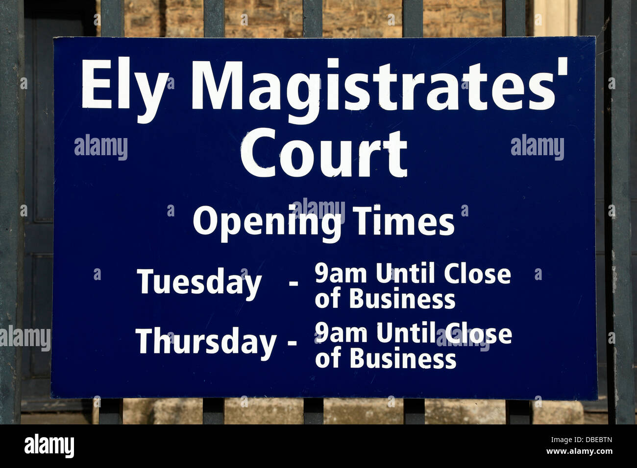 Ely Magistrates Court, sign, Cambridgeshire England UK - Stock Image