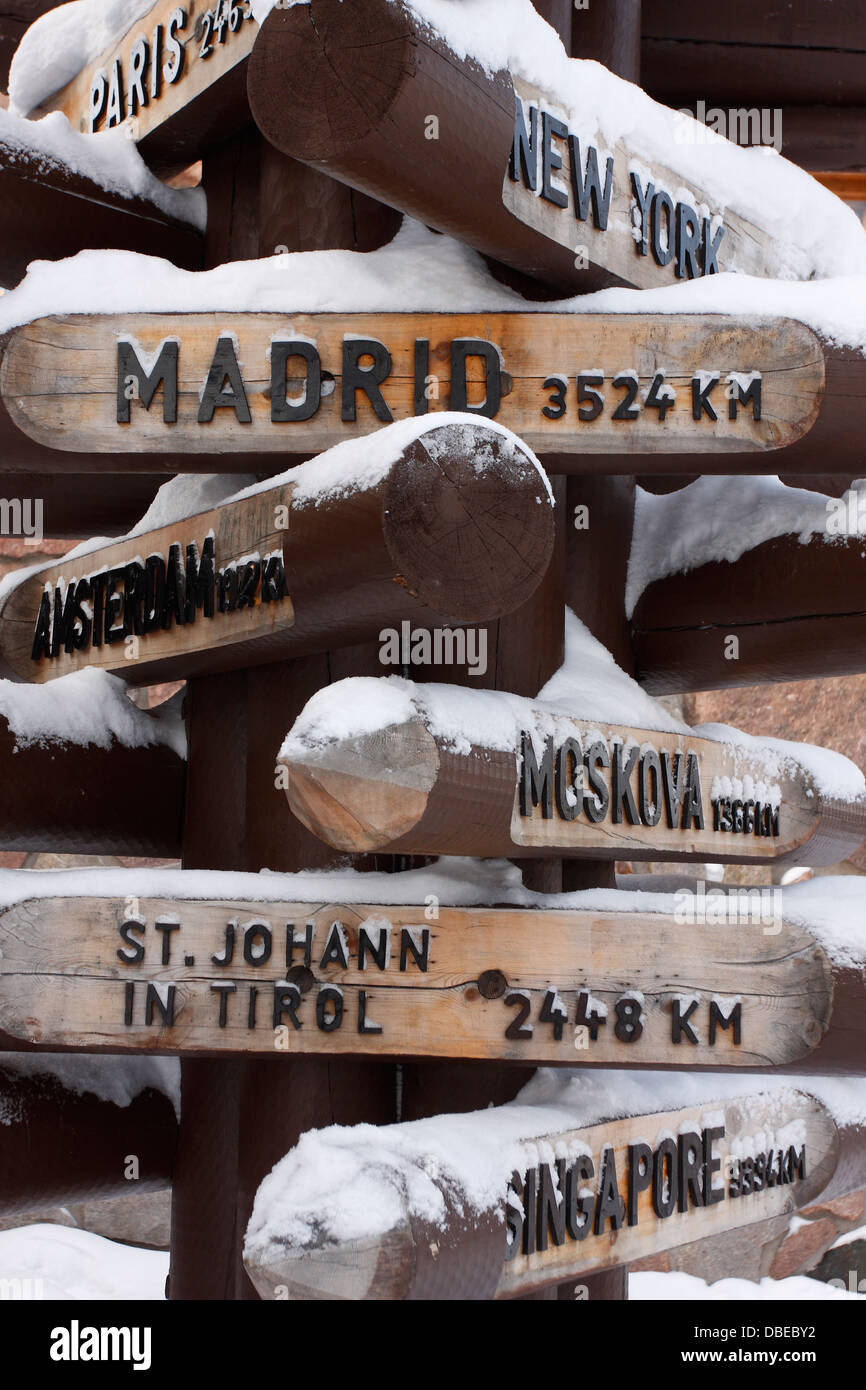 Directions and distances from Santa Claus Village to different cities of the World, Rovaniemi, Lapland, Finland. - Stock Image
