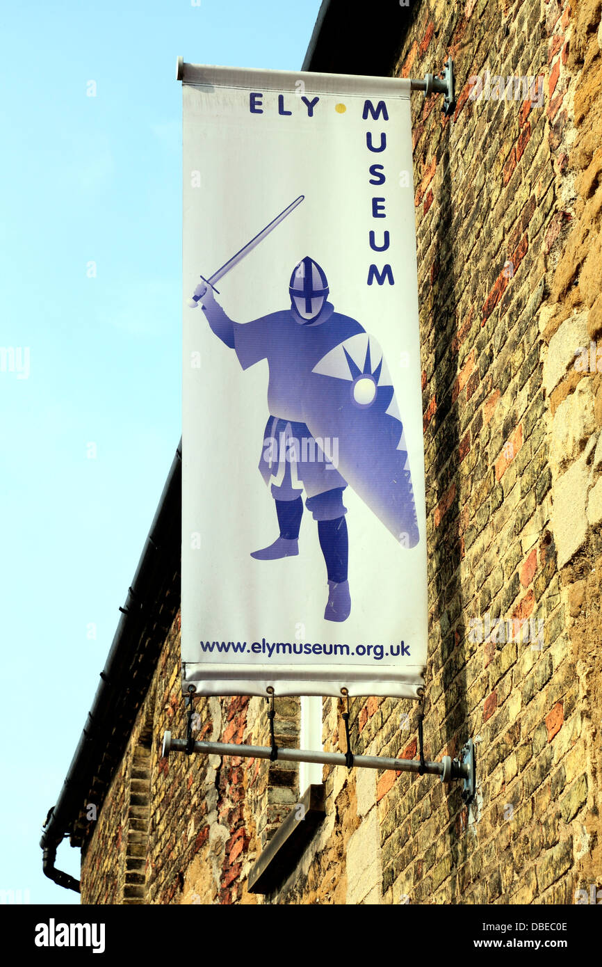 Ely Museum, sign, Cambridgeshire England UK museums - Stock Image