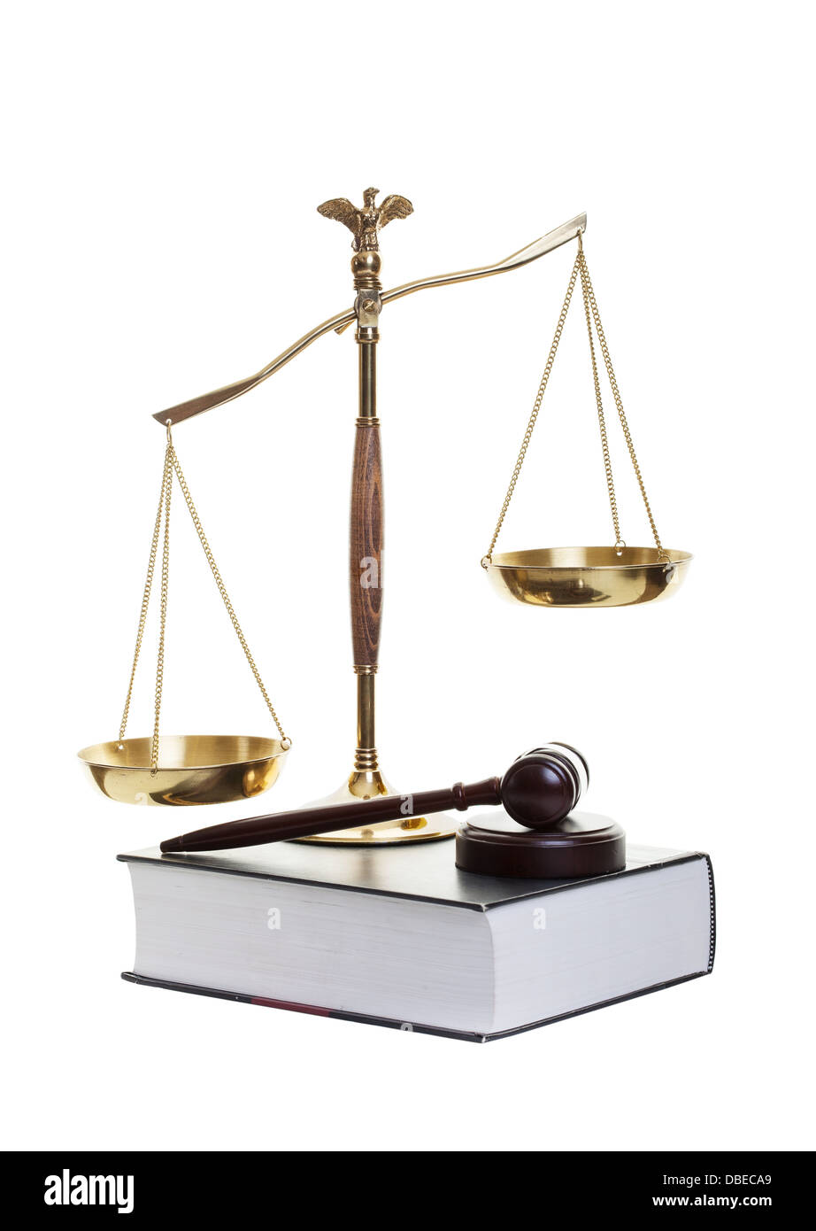 Golden scales of justice, gavel and law book on a white background - Stock Image