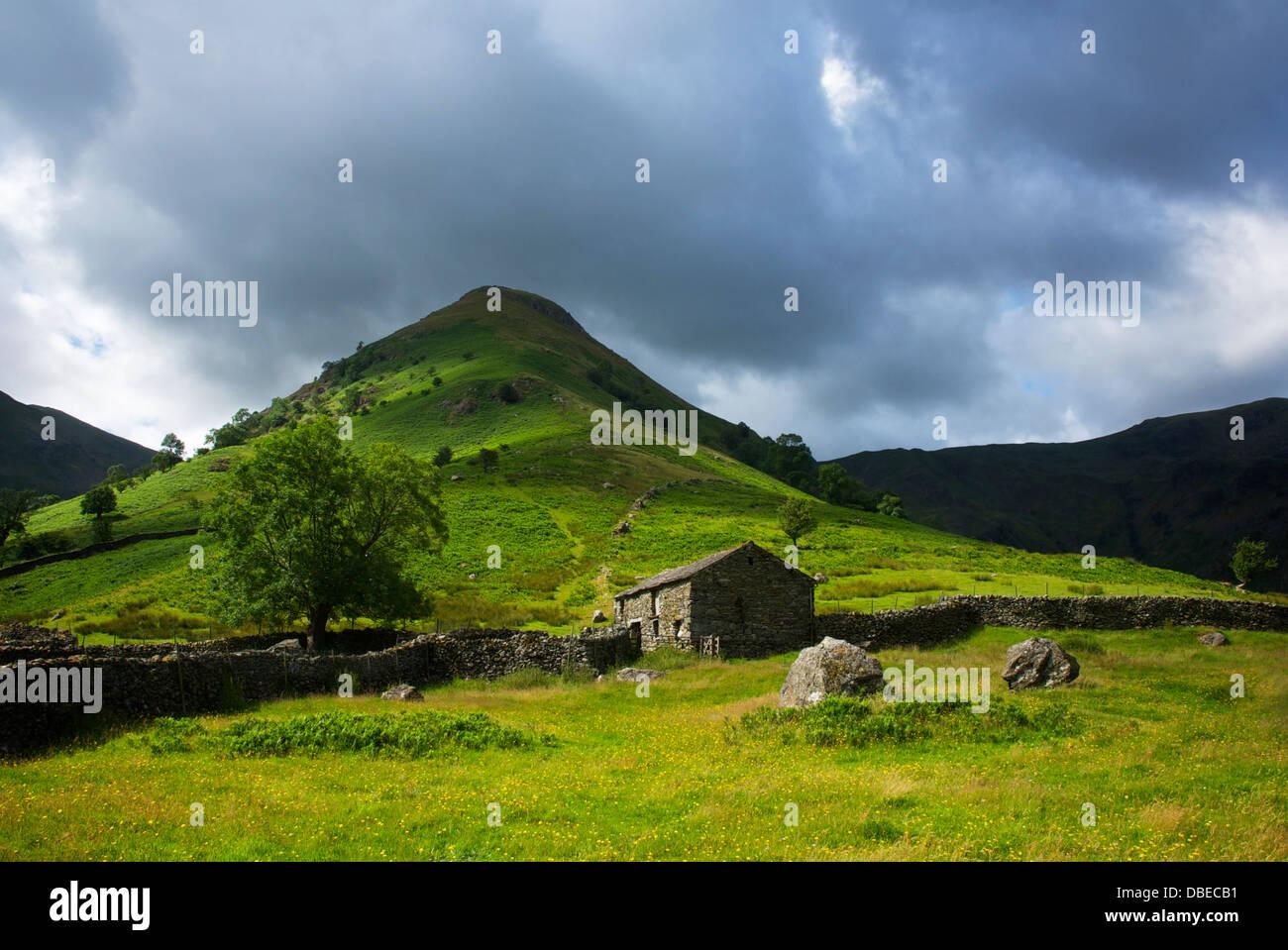 Field barn and hill - High Hartsop Dodd - near Hartsop, Lake District National Park, Cumbria, England UK - Stock Image