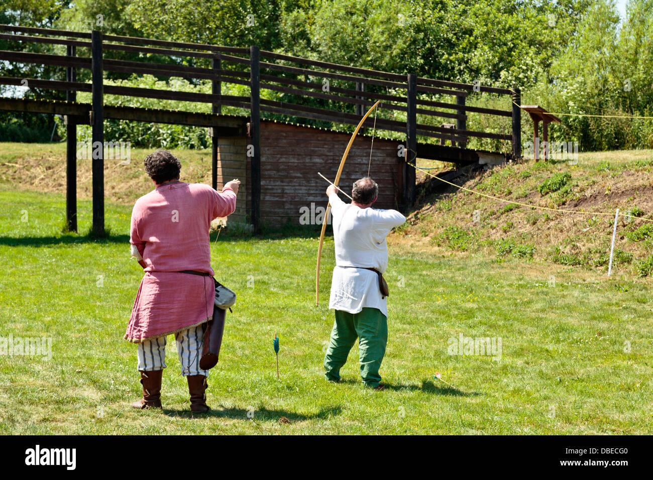 Viking archers at Flag Fen Archaeological Park, Peterborough, England - Stock Image