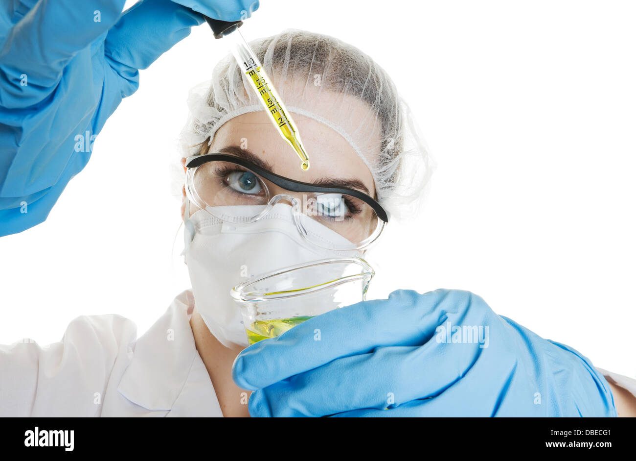 Medical worker conducting a routine medical test. Shot on a white background - Stock Image