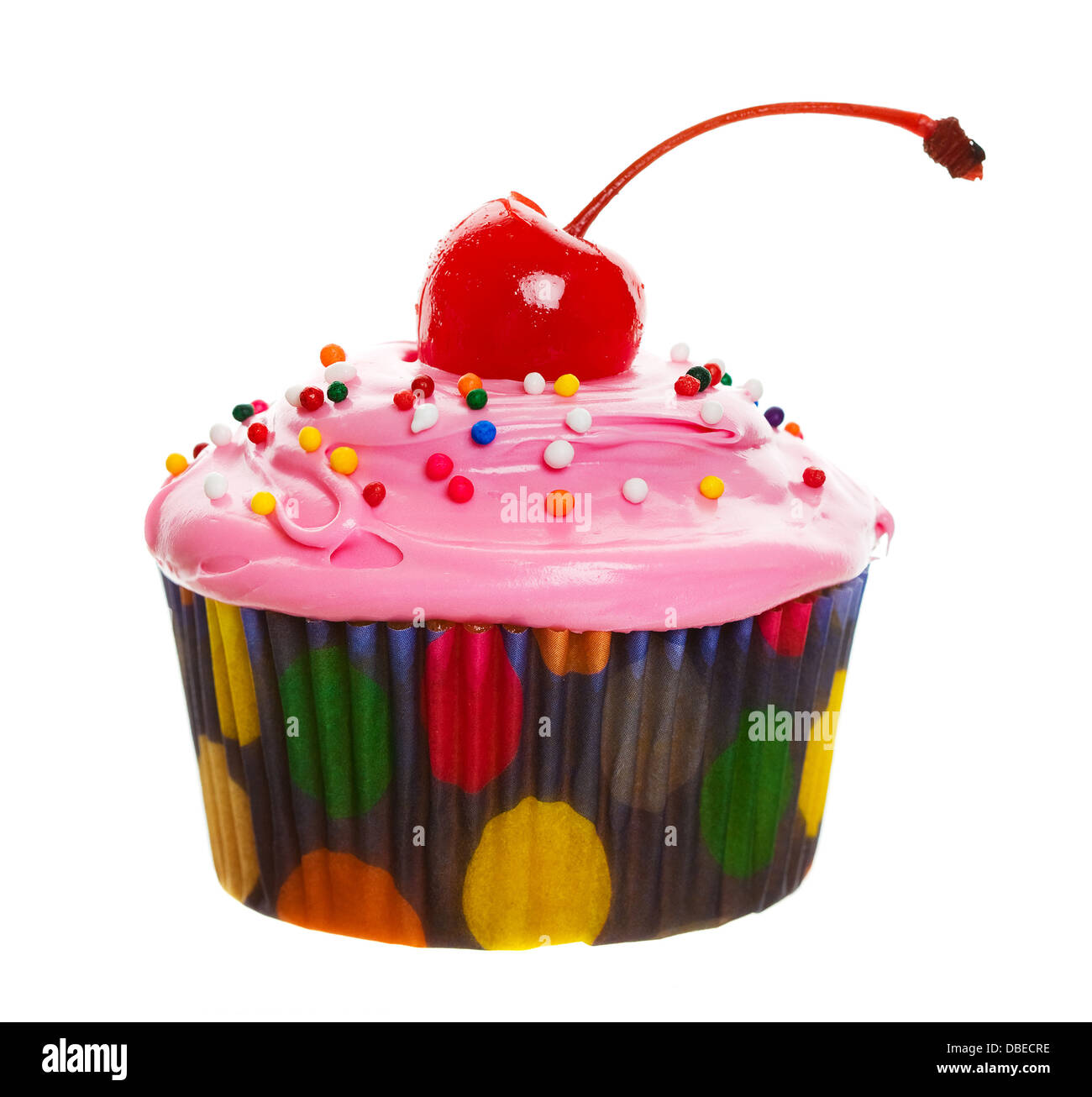A Colorful Cupcake With A Cherry On Top Stock Photo Alamy
