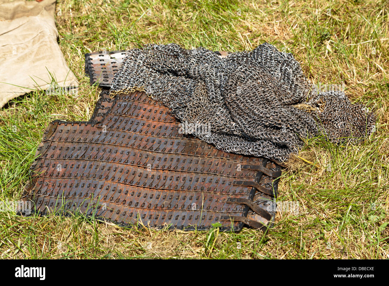 Viking chainmail armor at Flag Fen Archaeological Park, Peterborough, England - Stock Image