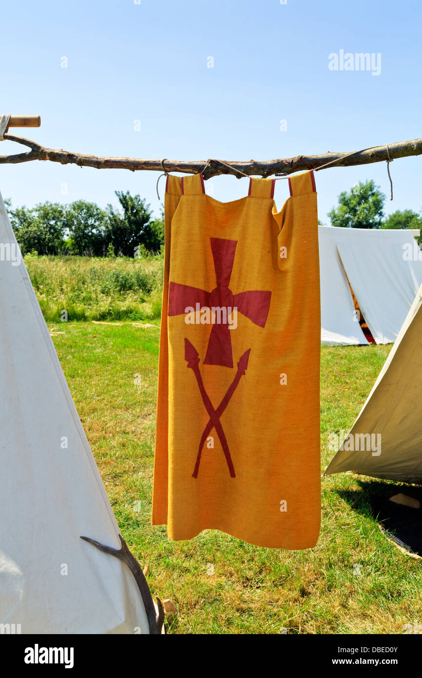 Viking tapestry at Flag Fen Archaeological Park, Peterborough, England - Stock Image