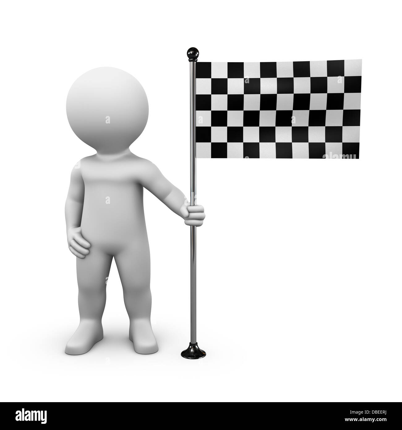 Bobby is presenting a goal flag on a flagpole - Stock Image