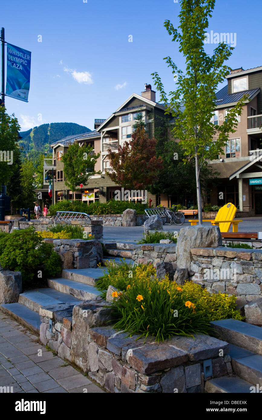 Early morning in the Whistler Olympic Plaza, British Columbia, Canada - Stock Image