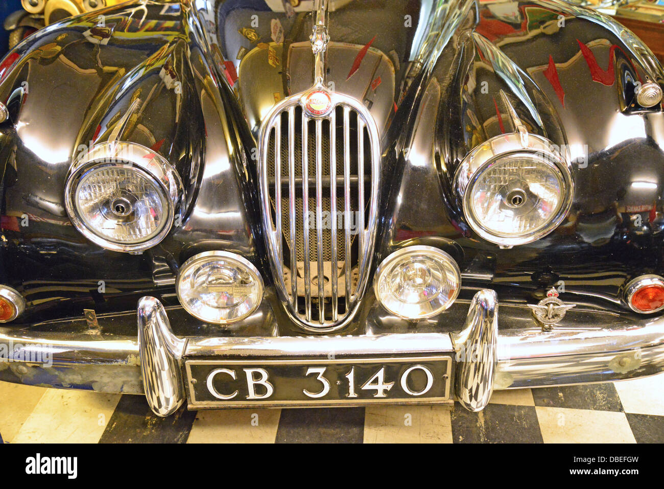 Vintage Jaguar at The Cotswold Motoring Museum, The Old Mill, Bourton-on-the-Water, Gloucestershire, England, United - Stock Image