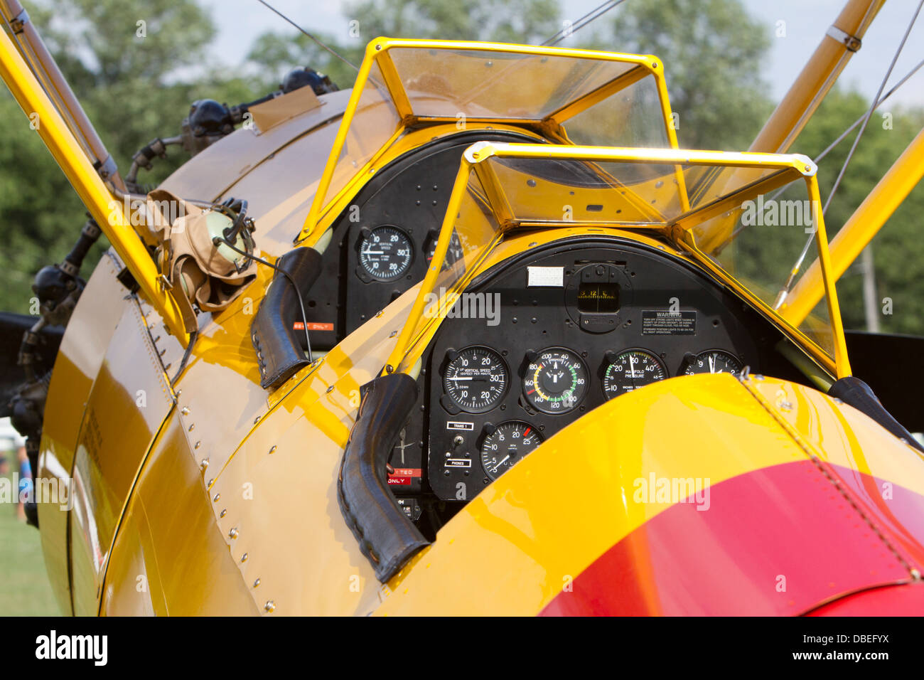 Boeing N2S Stearman (PT-17) cockpit and instrument panel. - Stock Image