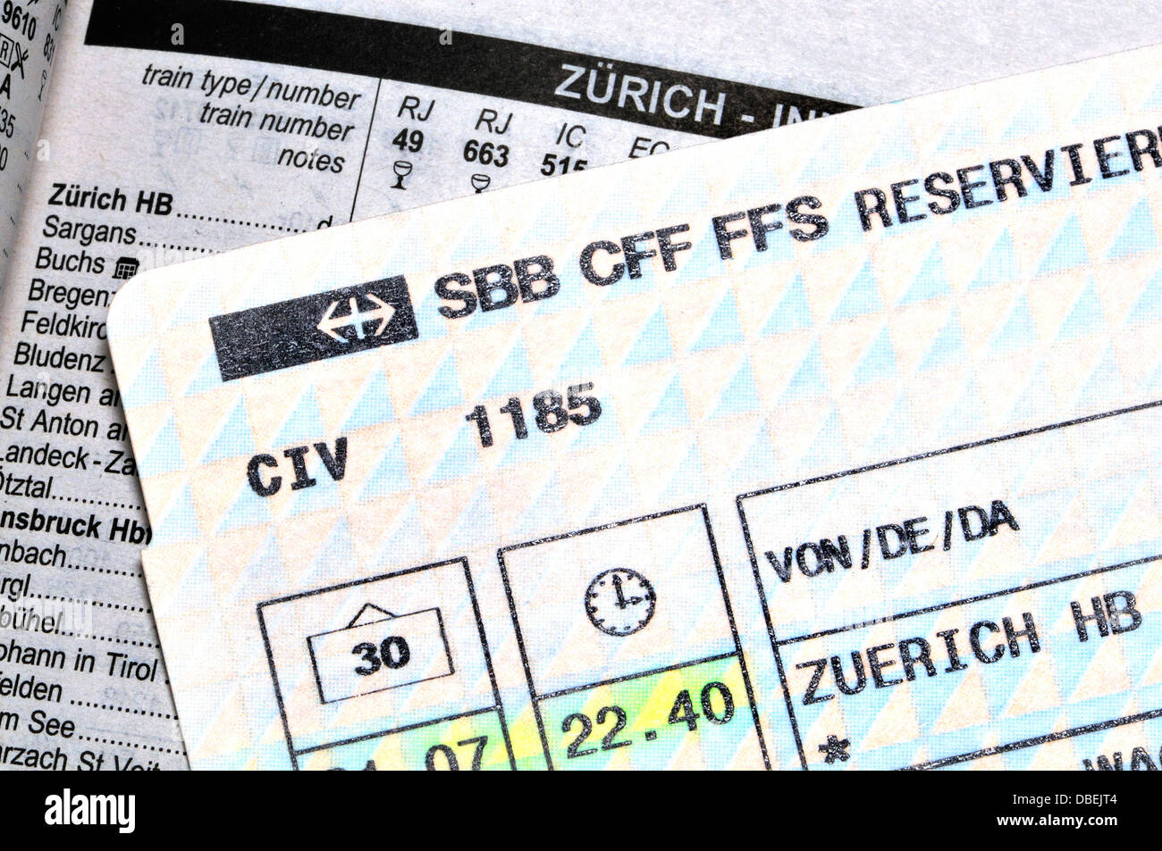 Rail Ticket and Timetable - Zurich - Stock Image