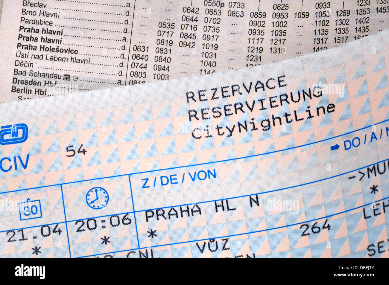 Rail Ticket and Timetable - Prague - Stock Image