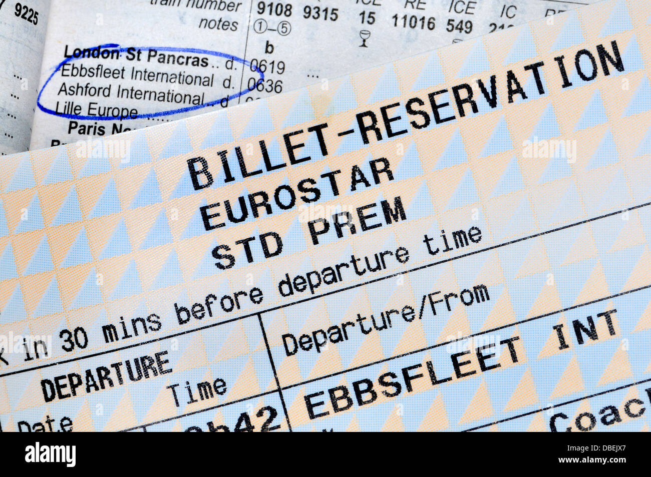 Rail Ticket and Timetable - Ebbsfleet International to Paris - Stock Image