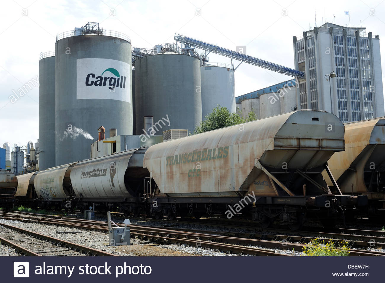 Amsterdam The Netherlands Cargill bulk goods terminal in the Western harbour. Wagons of Trans-cereales. - Stock Image