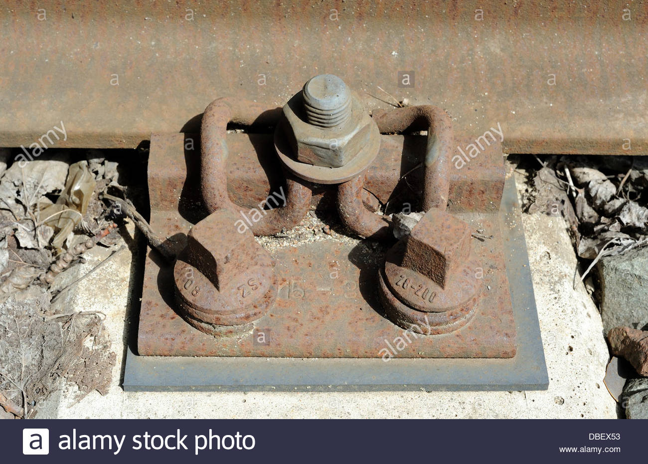 Amsterdam Railway rail attached to the sleeper using tension clamp fastening.  - Stock Image