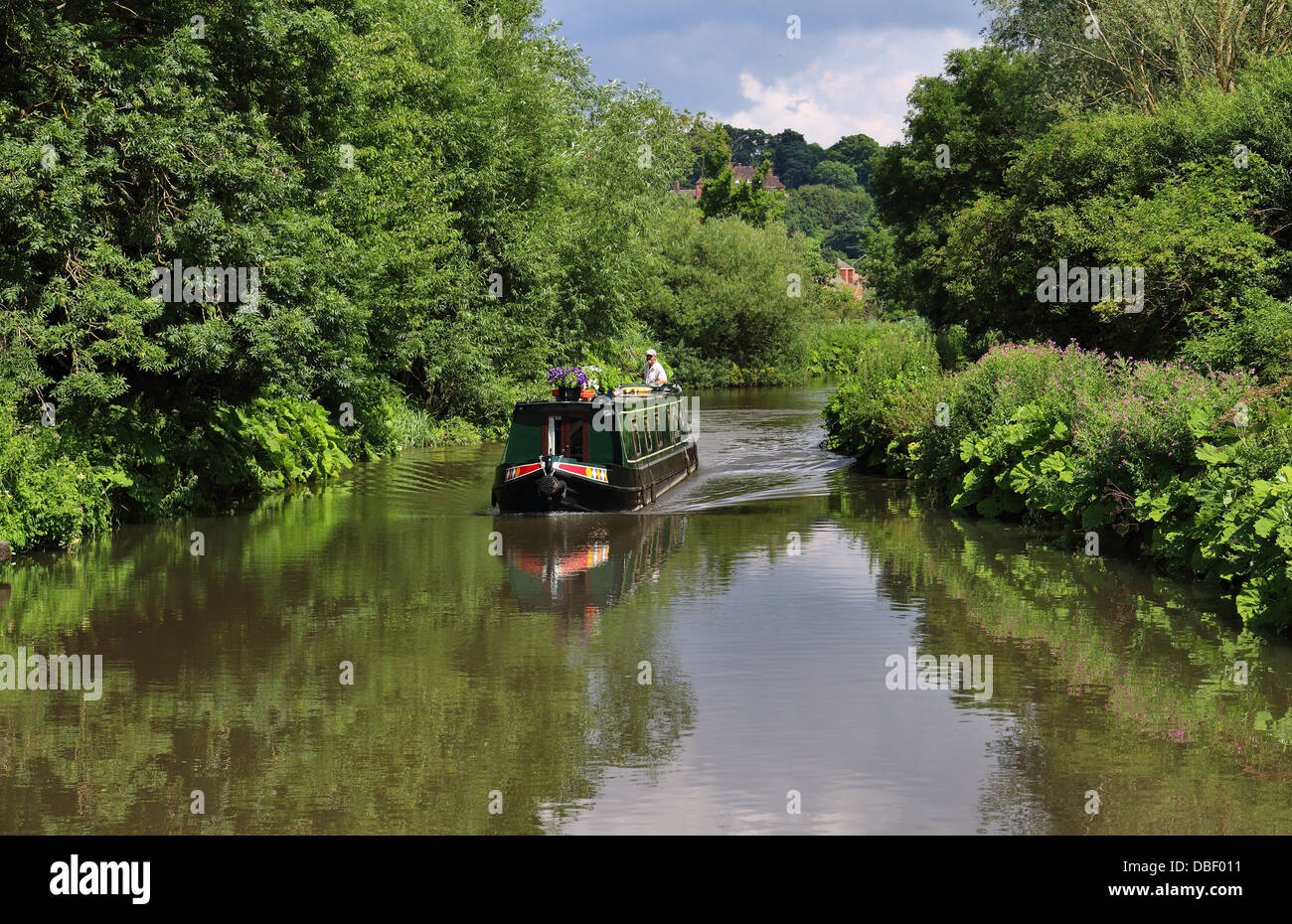 Narrowboat on the Kennet & Avon Canal in Berkshire - Stock Image