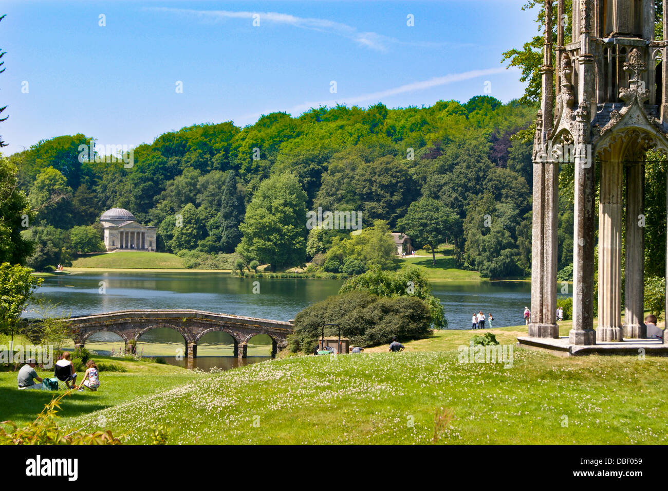 The Pantheon, by Henry Flitcroft, c18, and Bristol High Cross, Stourhead, Wiltshire, photographed from the public - Stock Image