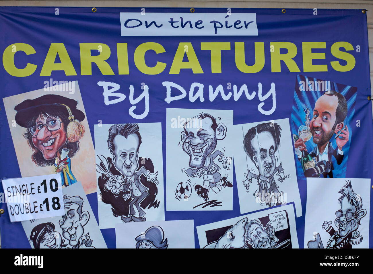 on the pier caricatures by Danny at Bournemouth Pier in July - Stock Image