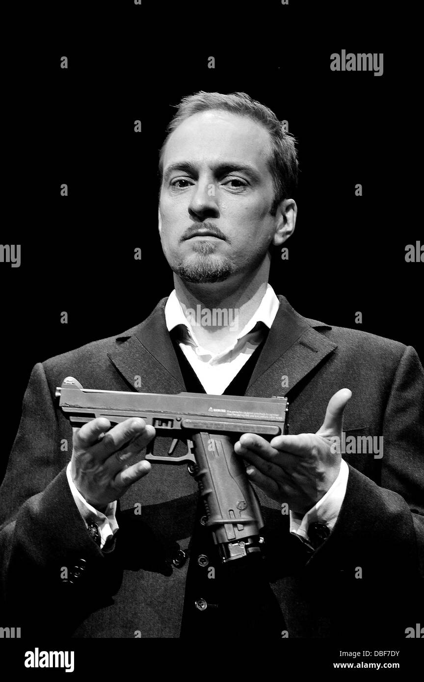 Derren Brown on stage at the Shaftesbury Theatre ahead of the press night for his show 'Derren Brown: Svengali' Stock Photo