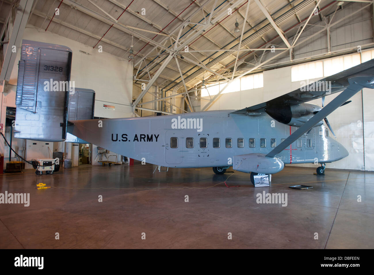 The last C-23 'Sherpa' in the Oklahoma Army National Guard inventory sits in side its hanger at Will Rogers - Stock Image