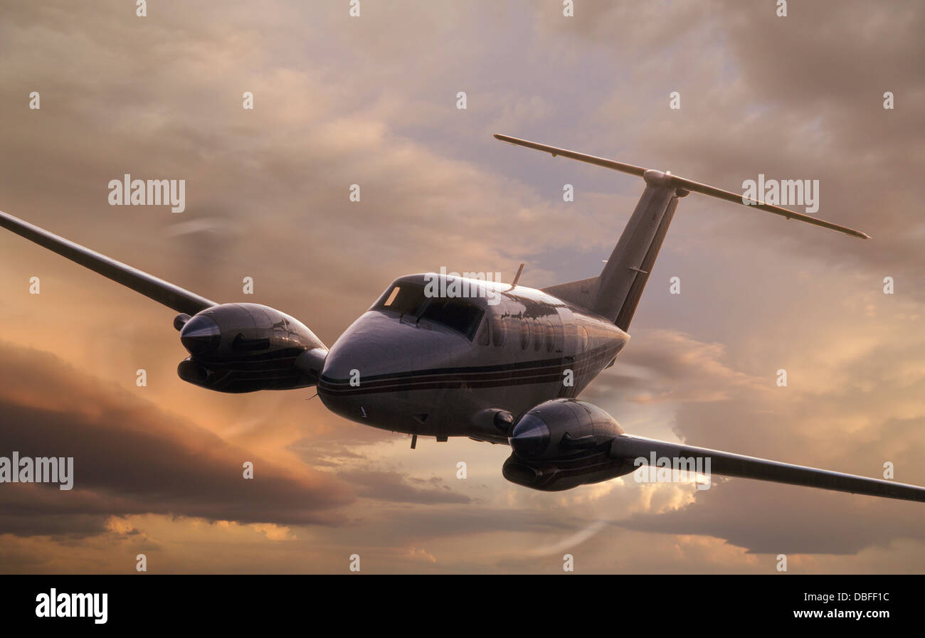 A Beecraft C-90 flying. - Stock Image