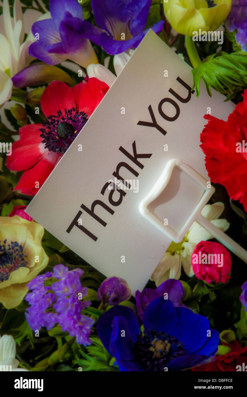 Close up of bouquet of flowers with message card: Thank You Stock ...