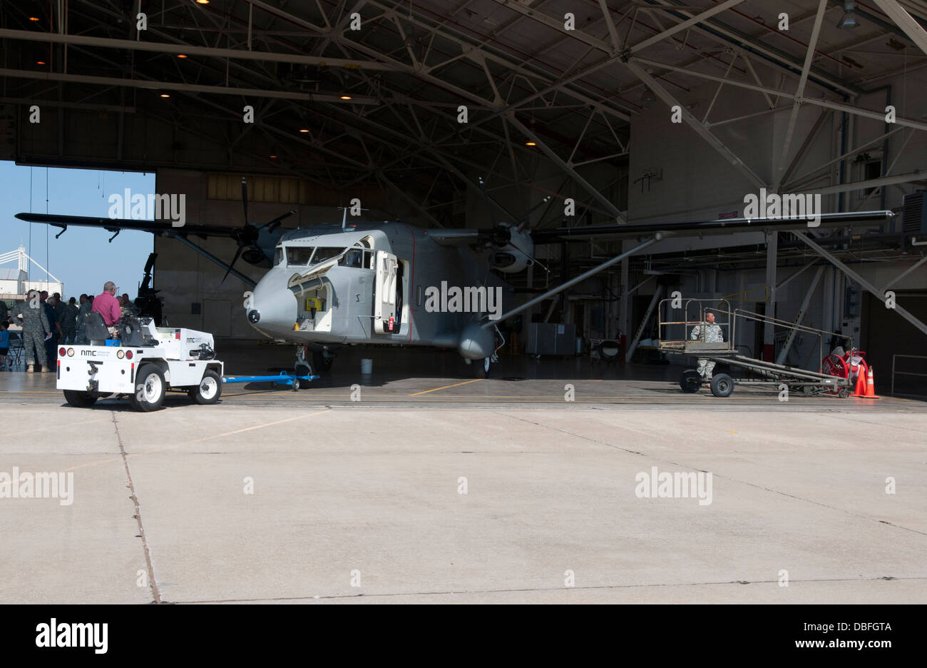 The last C-23 'Sherpa' in the Oklahoma Army National Guard inventory is towed from its hanger for the last - Stock Image