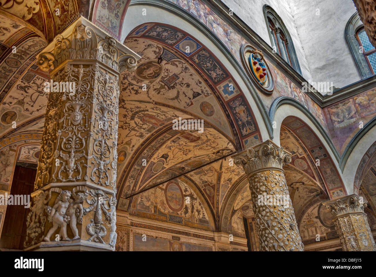 Arches of Palazzo Vecchio Florence Italy - Stock Image