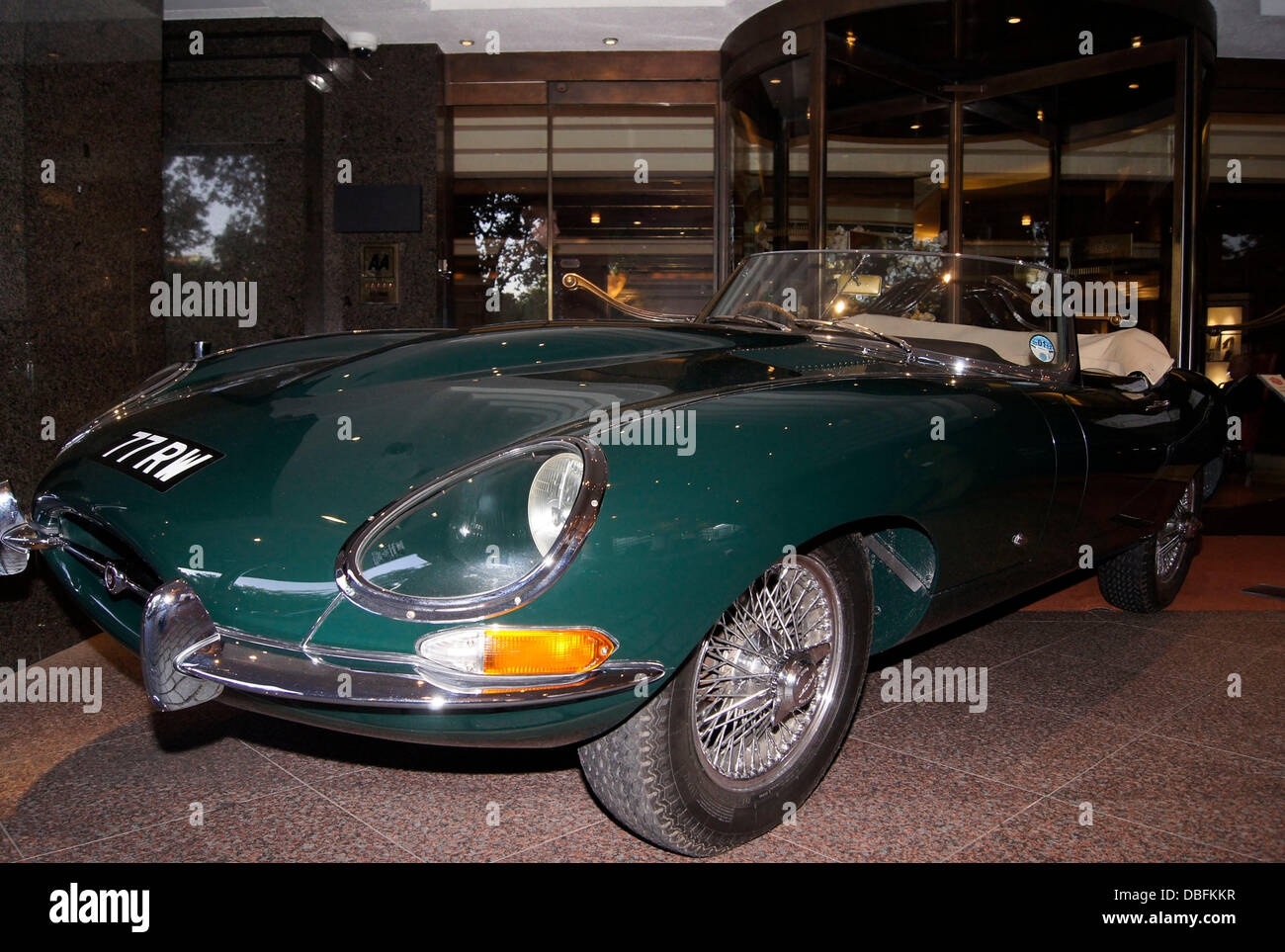 Worlds oldest Jaguar E Type 77 RW at the 50th Anniversay party of the Jumeirah Carlton Tower Hotel in Knightsbridge - Stock Image