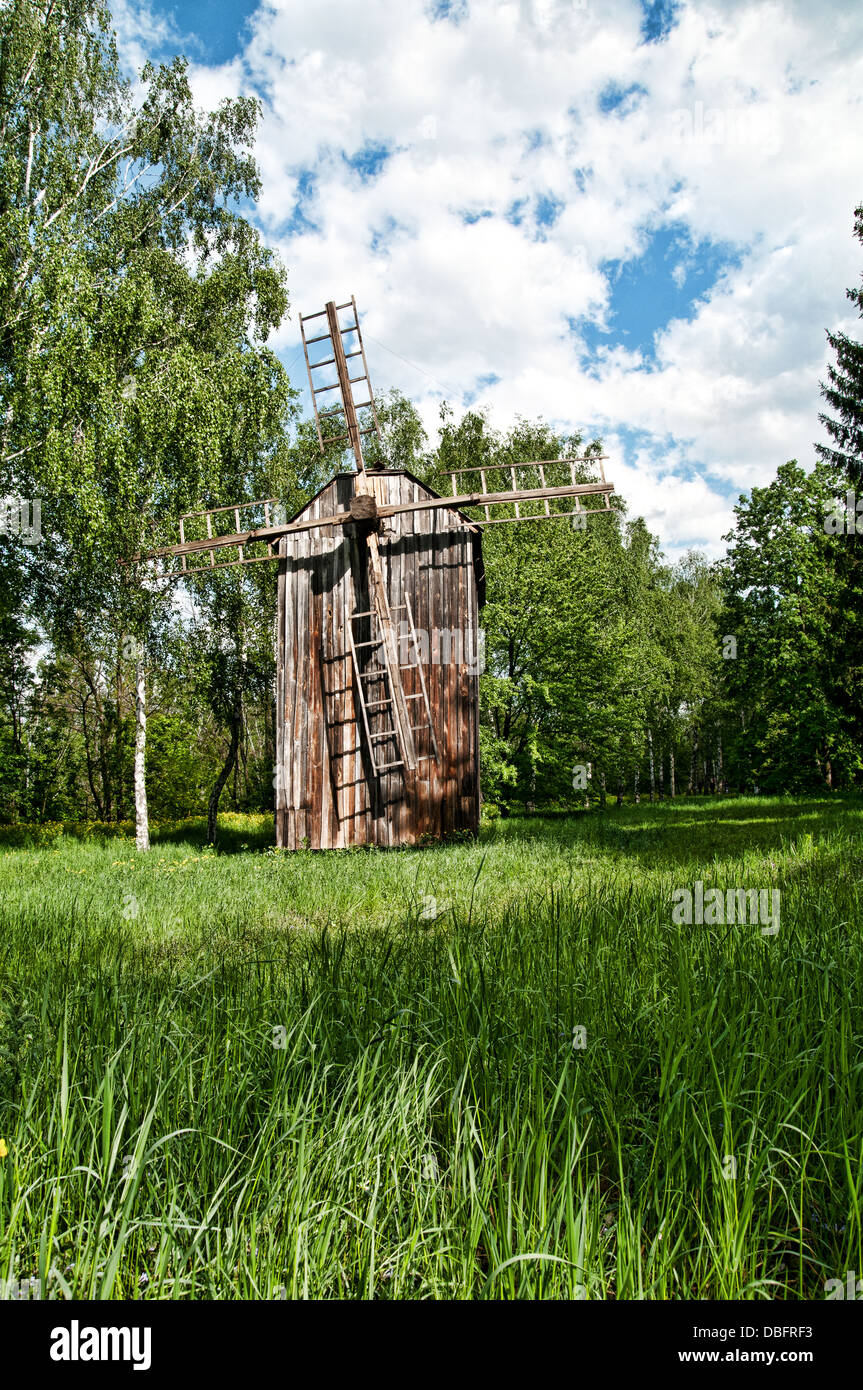 Old wooden windmill in - Stock Image