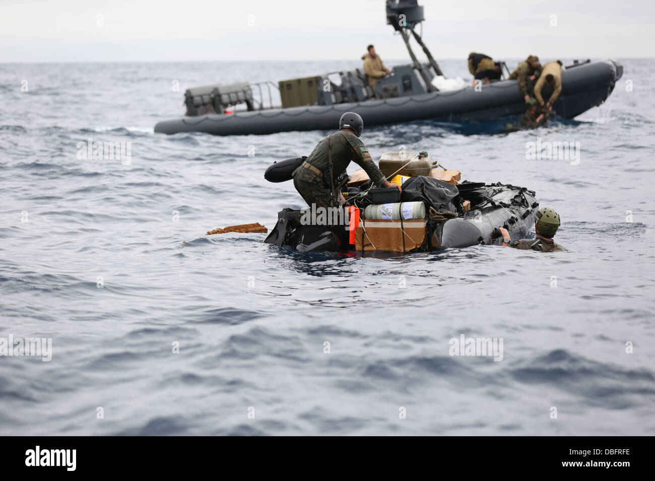 F470 Zodiac July 23 after parachuting into the Coral Sea during Talisman Saber July 23. More than 28,000 U.S. and - Stock Image
