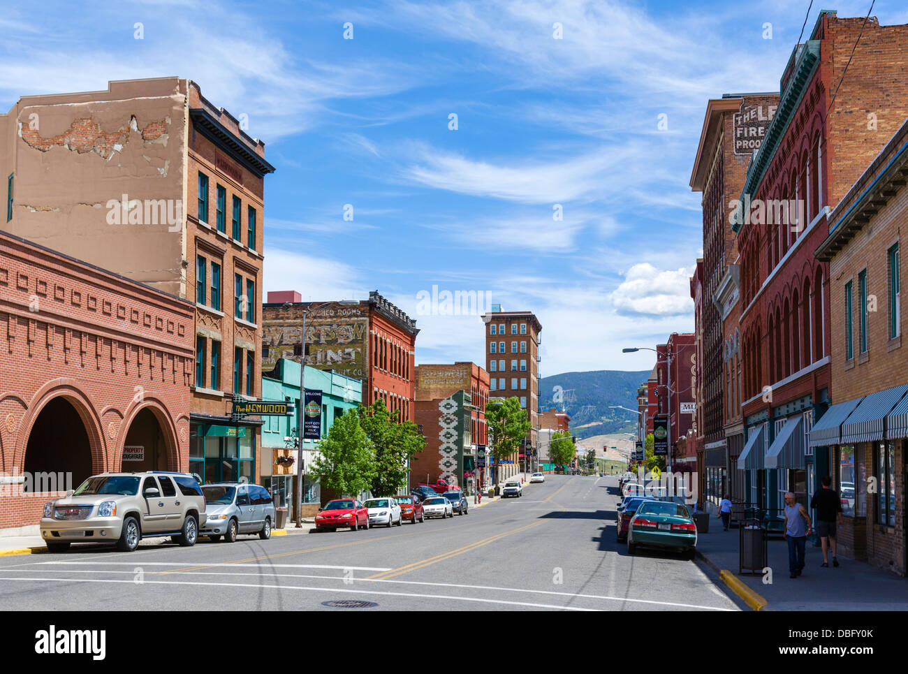 West Broadway Street in downtown Butte, Montana, USA - Stock Image