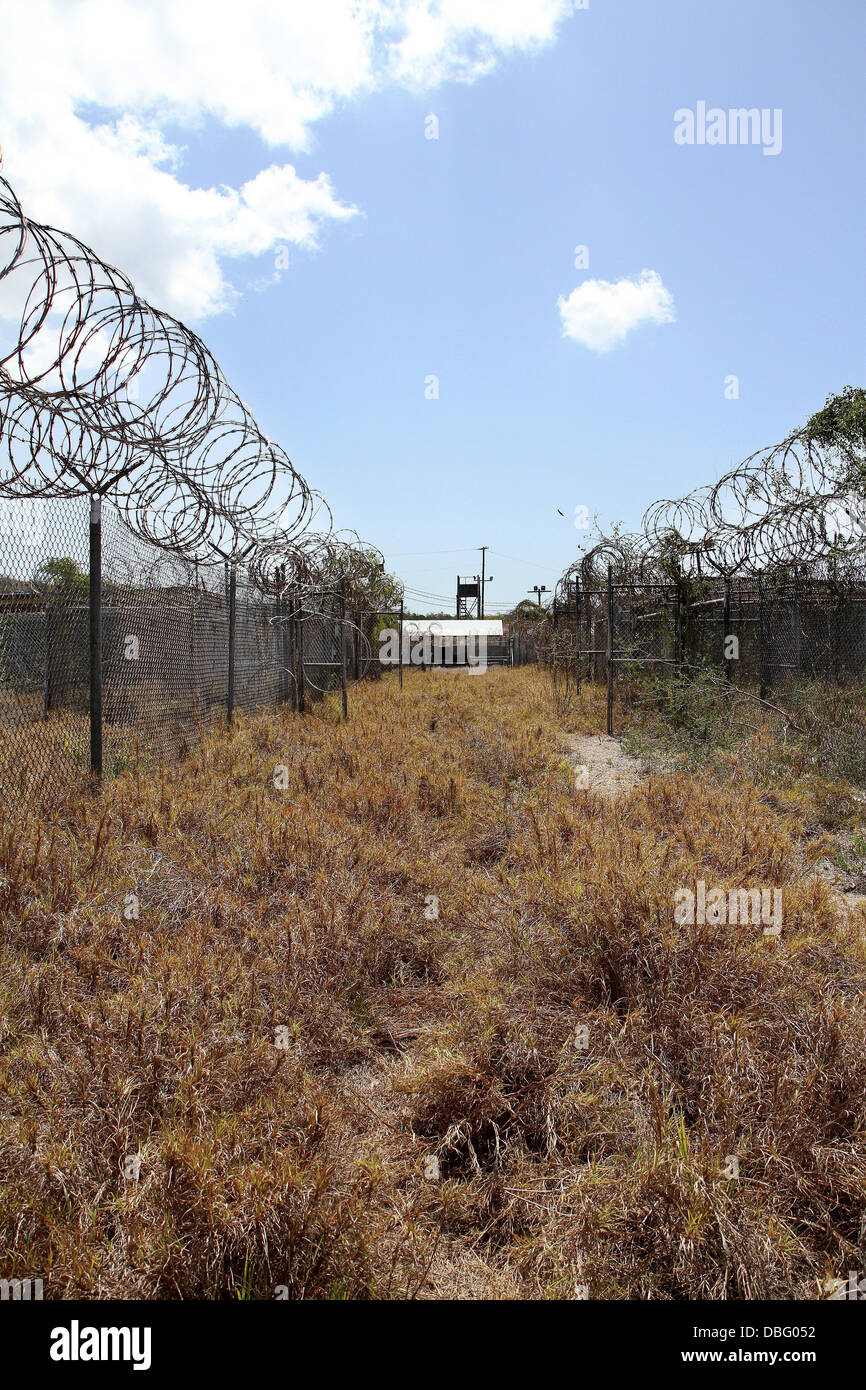 An overgrowth of bushes and weeds is what remains of Camp X-Ray today, but back in 2002, it was established as a - Stock Image