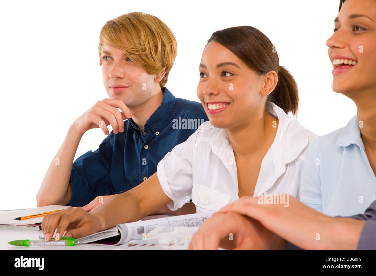 teenagers in classroom - Stock Image