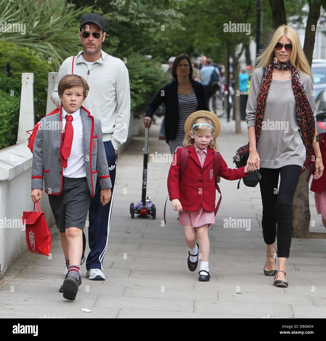 Claudia Schiffer and Matthew Vaughn walking their children