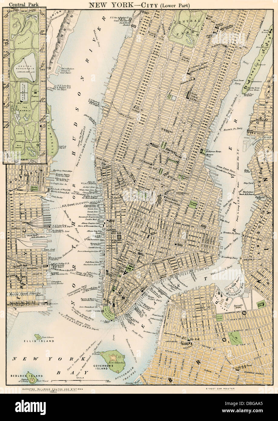 Map of lower and midtown Manhattan New York City 1870s Stock